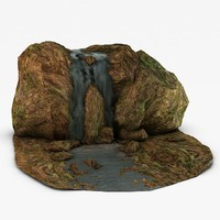 3d waterfall rocks
