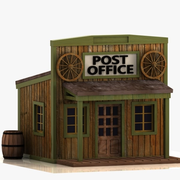 3d model cartoon western building