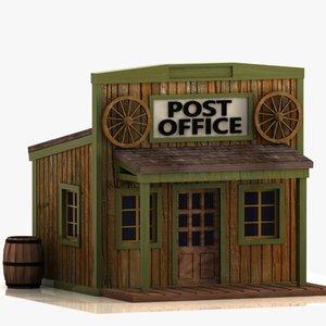 3d model cartoon western building