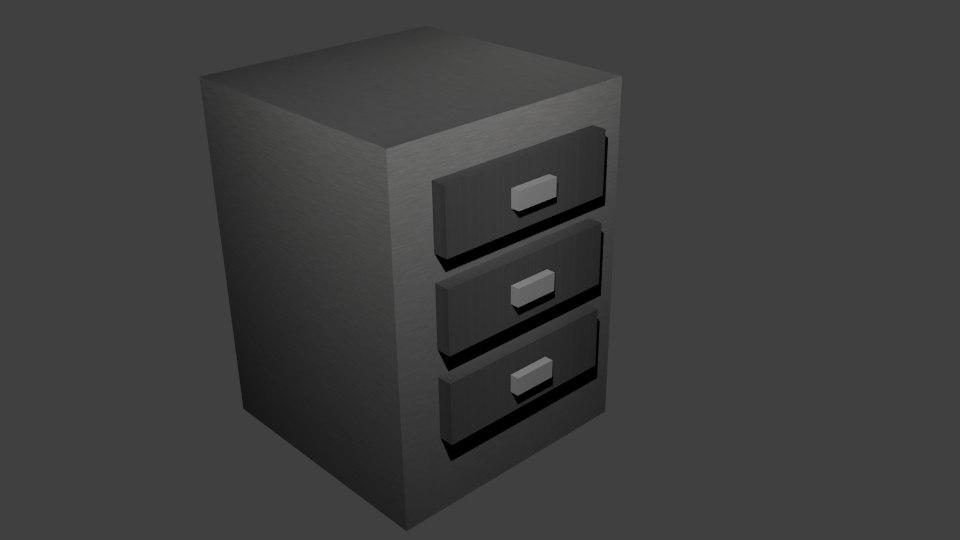 free obj model metal file cabinet