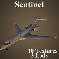 bombardier sentinel low-poly 3d max
