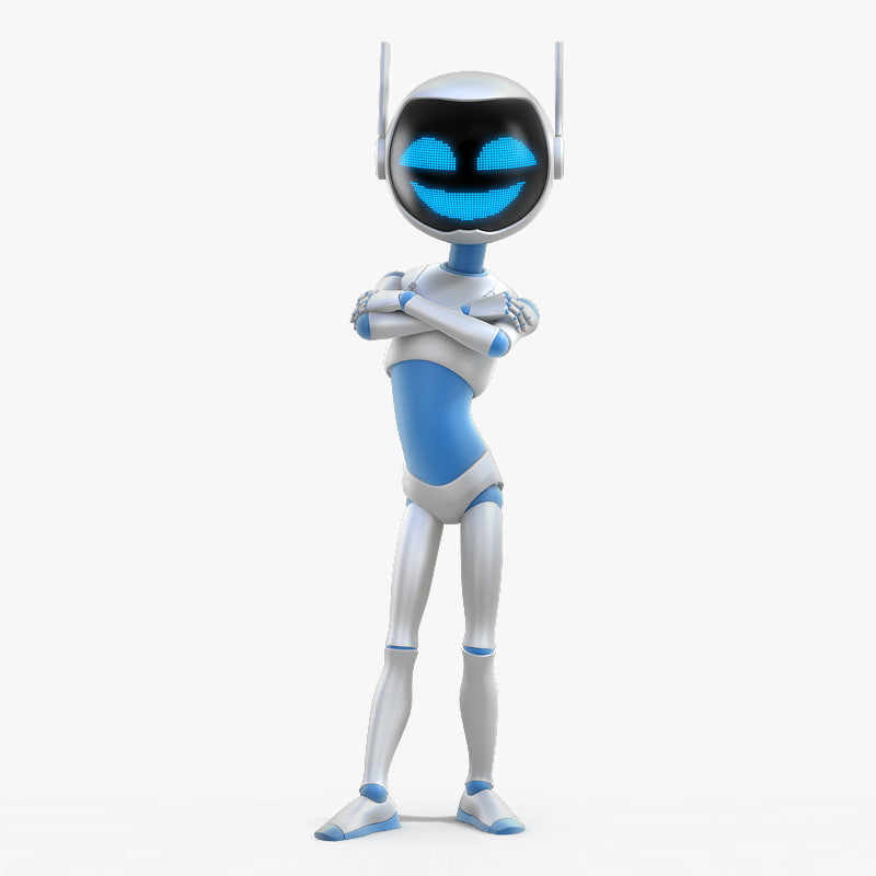 3d model young robot character