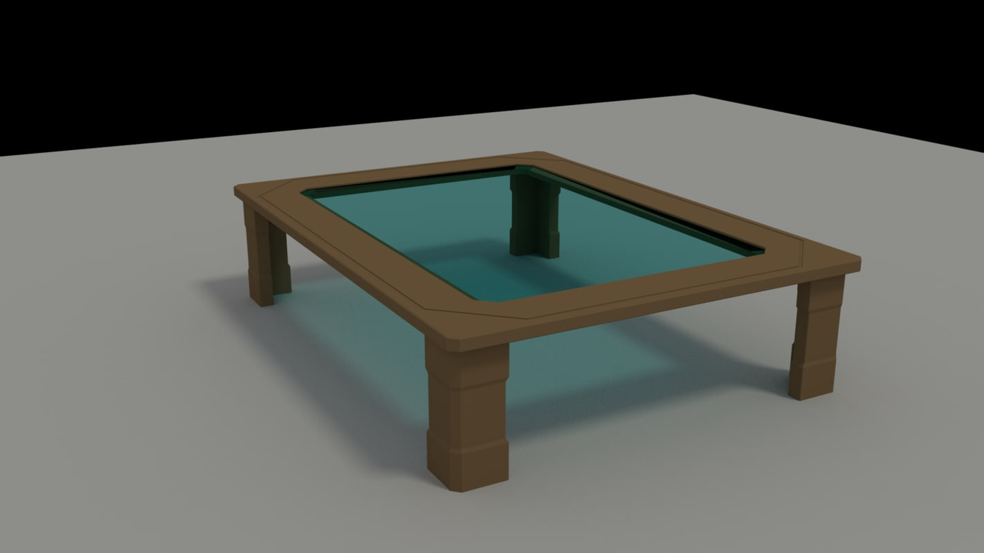 3d glass topped table model