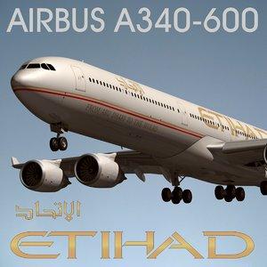 airbus a340 600 etihad 3d model