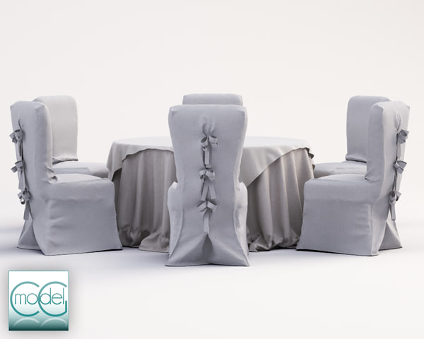 3d wedding table chairs model