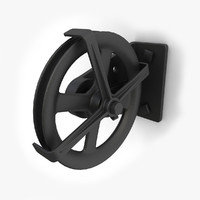wall mounted retro pulley 3d model