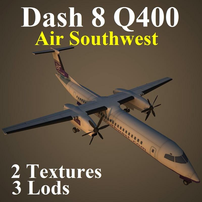 3d model bombardier dash 8 q400