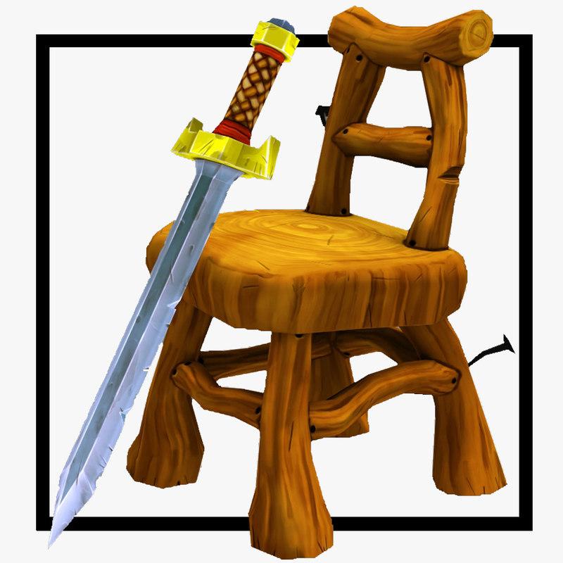 3d chair sword model