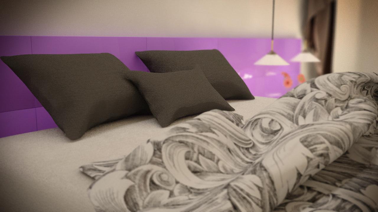 free minimalist bedroom scene 3d model