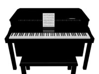 home black piano 3d model