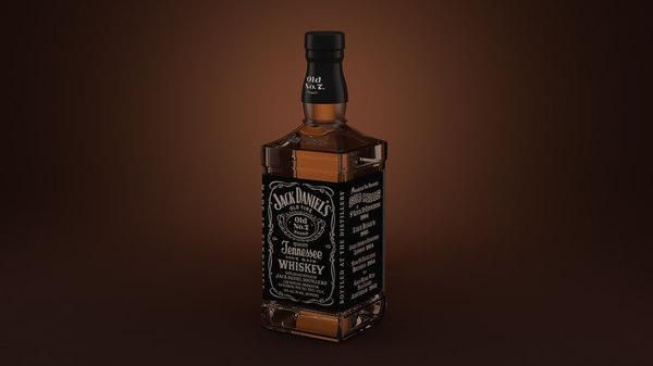 jack daniels whiskey bottle 3d model