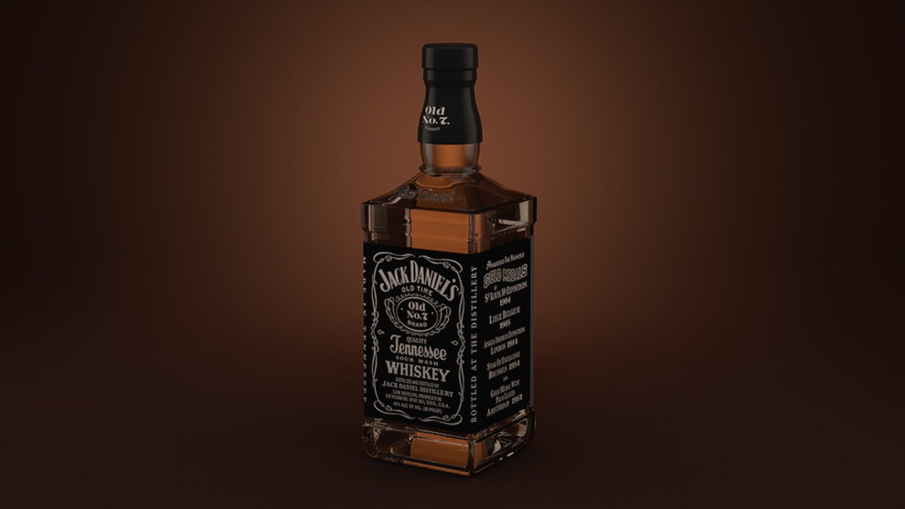 jack daniels whiskey bottle 3d model