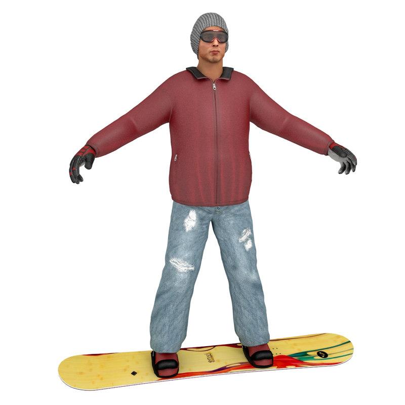 snowboard man 3d max