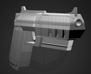 3d futuristic pistol gun model