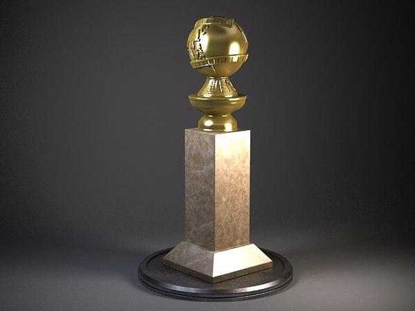 3d model trophy award gold golden