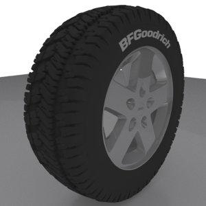 jeep rim wheel tire 3d 3ds