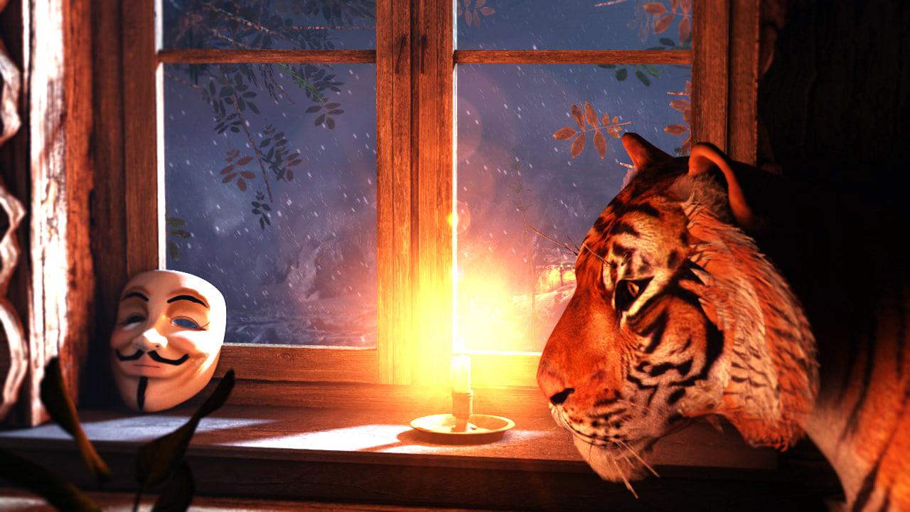 3d scene tiger rigged morph model