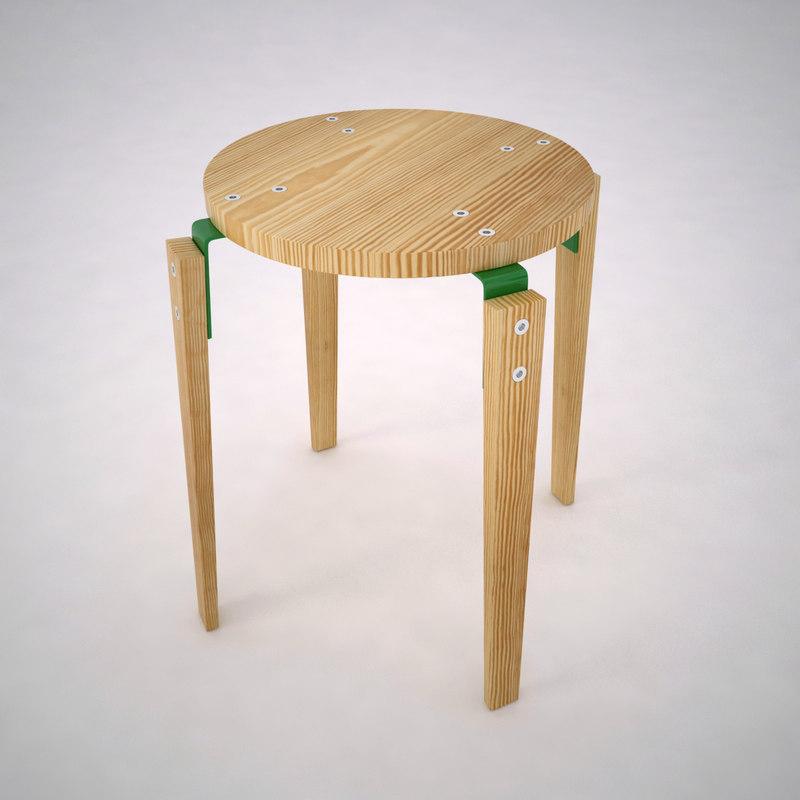 3d stool interior wood model