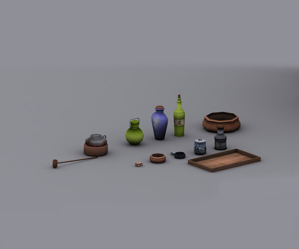 3d model edo town props realtime