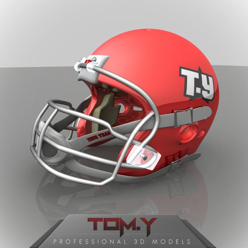 3d american football helmet logo model