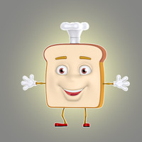 3d cartoon bread model