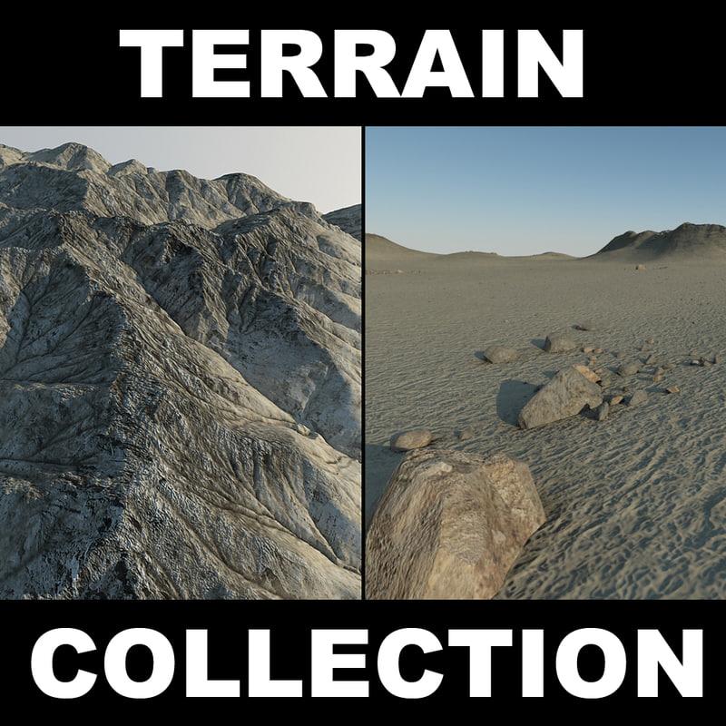 3d terrain stone desert