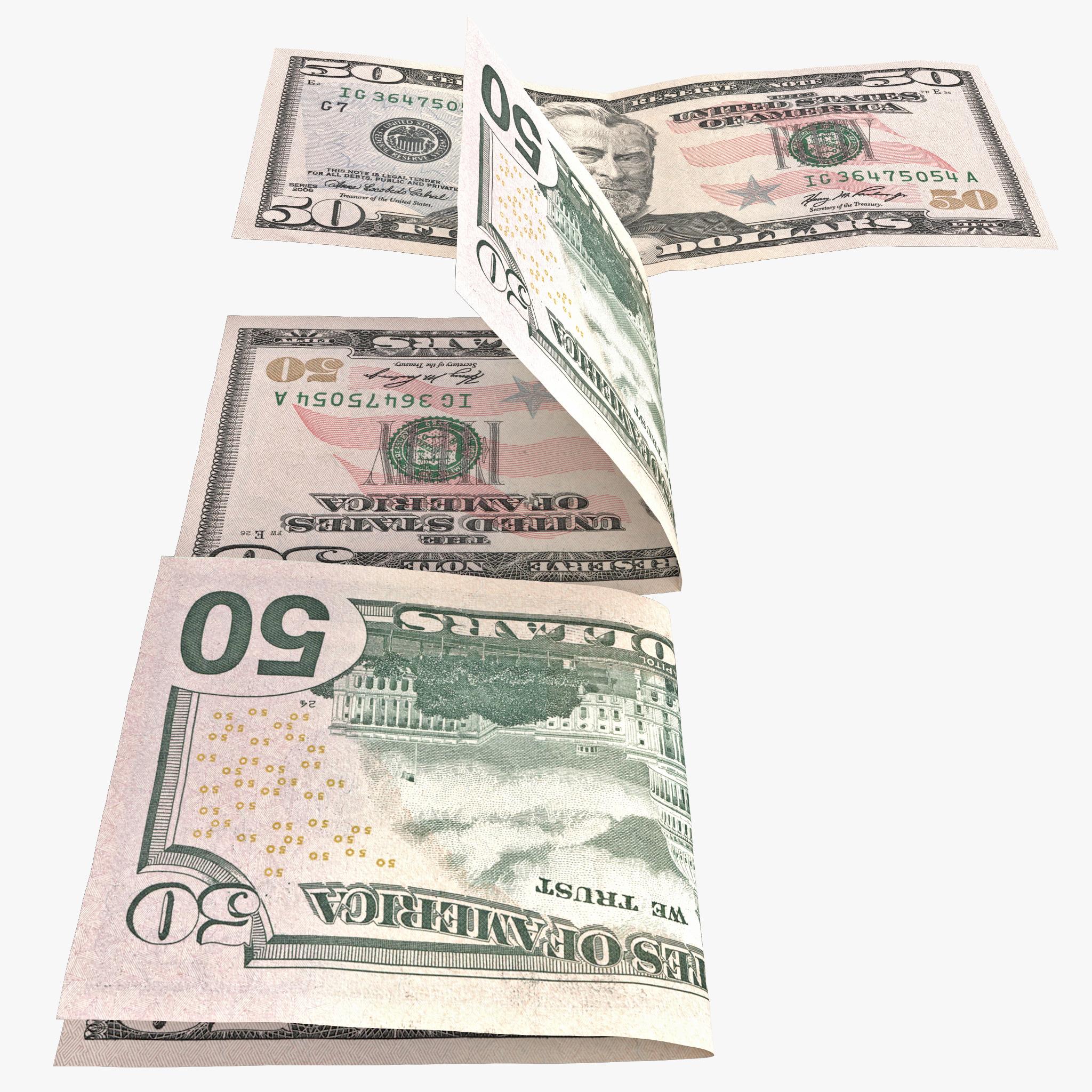 3ds max 50 dollar bill set
