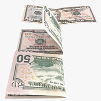 3ds max 50 dollar bill set