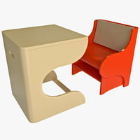 3d model of child convertible chair desk