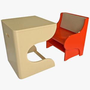 3d model of child convertible chair desk