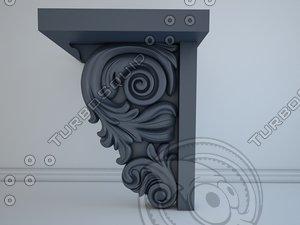 corbel scroll 3d max