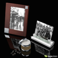 3d model wooden picture frame candle