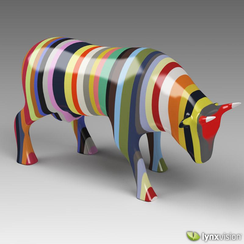 porcelain multi-color cow sculpture 3d model