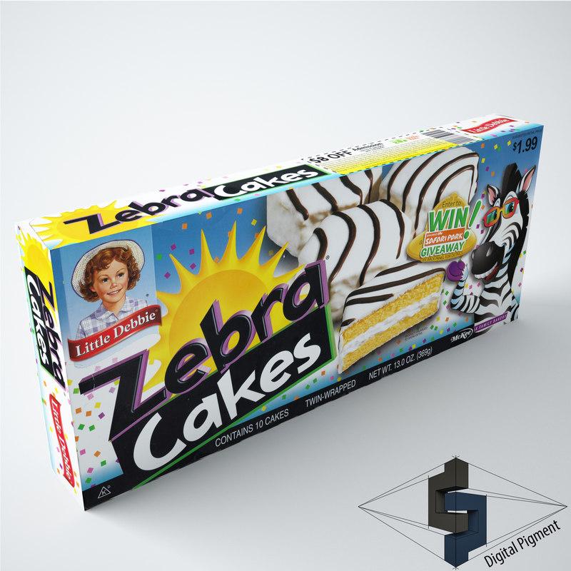 3d model little zebra cakes