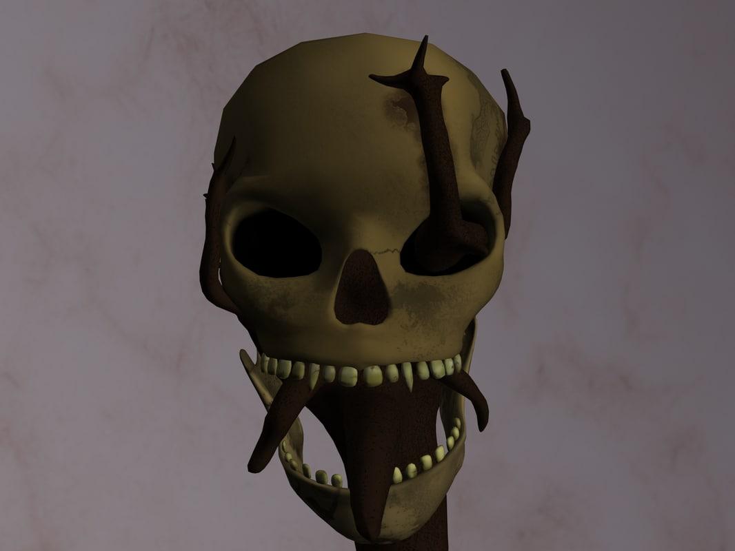 skull staff skullstaff 3d model