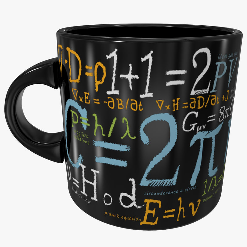 3d model of mathematical formulas mug