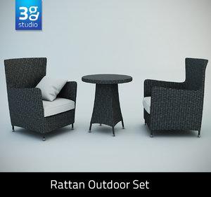 rattan outdoor set chairs 3d model