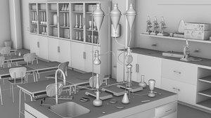 3d glassware science classroom model
