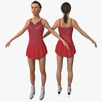 3d women figure skater model