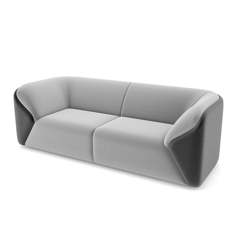 3ds max black grey sofa