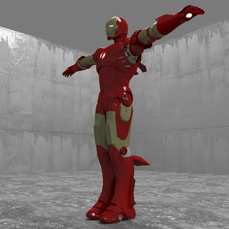 3d rigged iron man