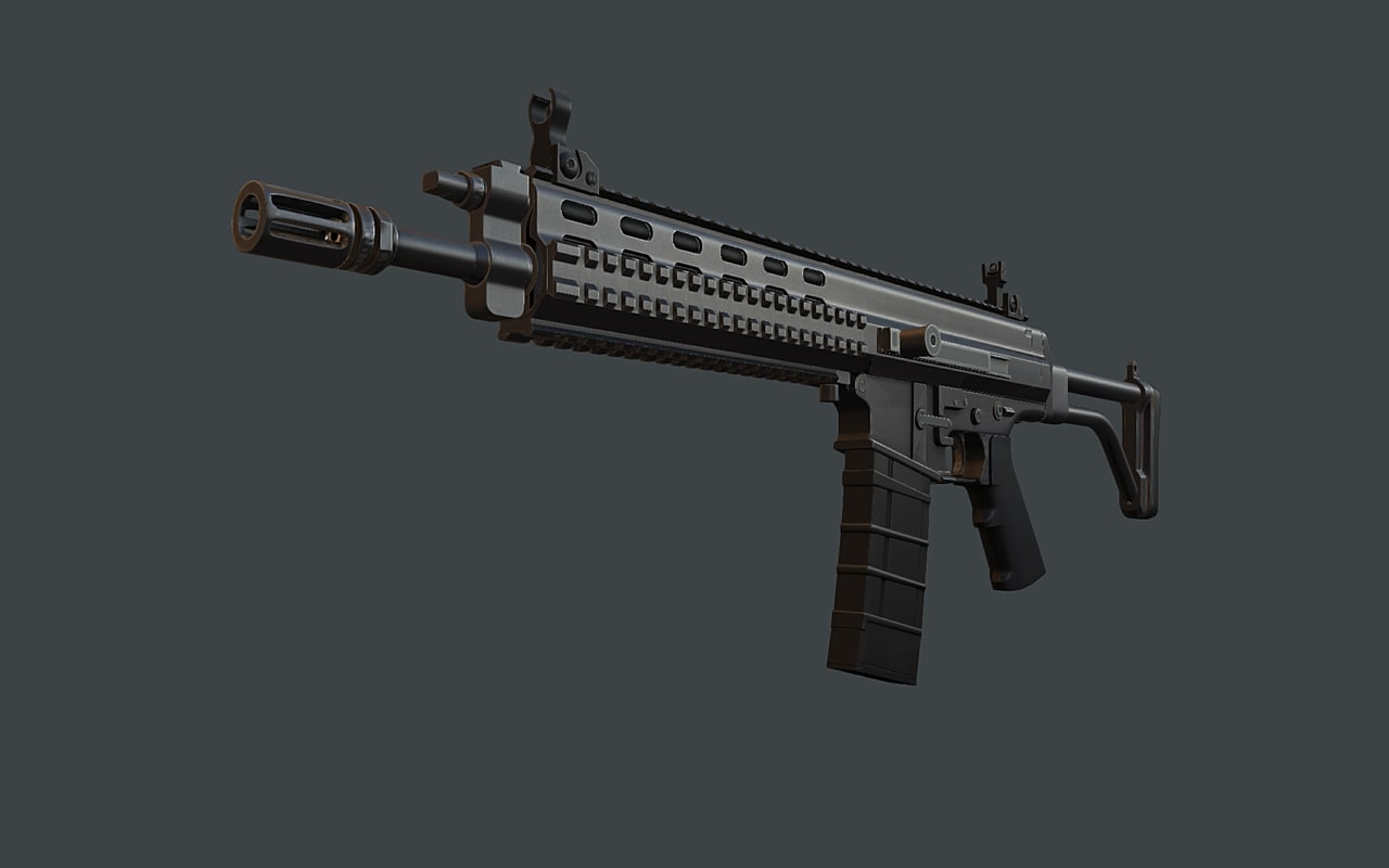 3d model xcr combat assault rifle