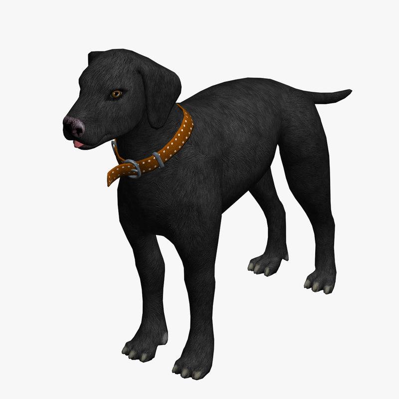 3d model of dog black