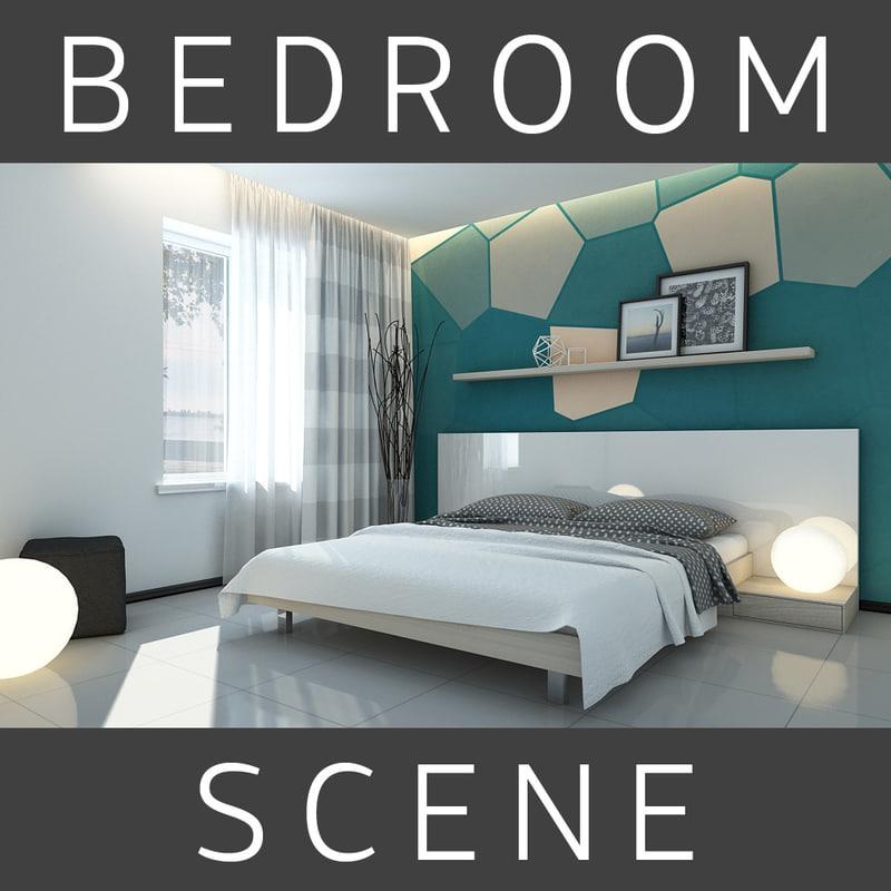 3d model bed bedroom room