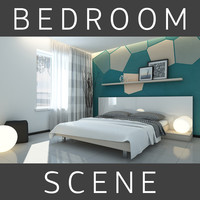 3d model bed bedroom room