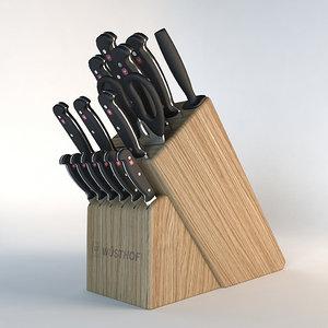 kitchen knife block 3d 3ds