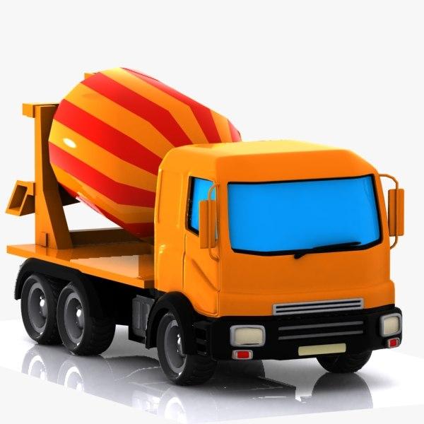 cartoon mixer truck 3d model