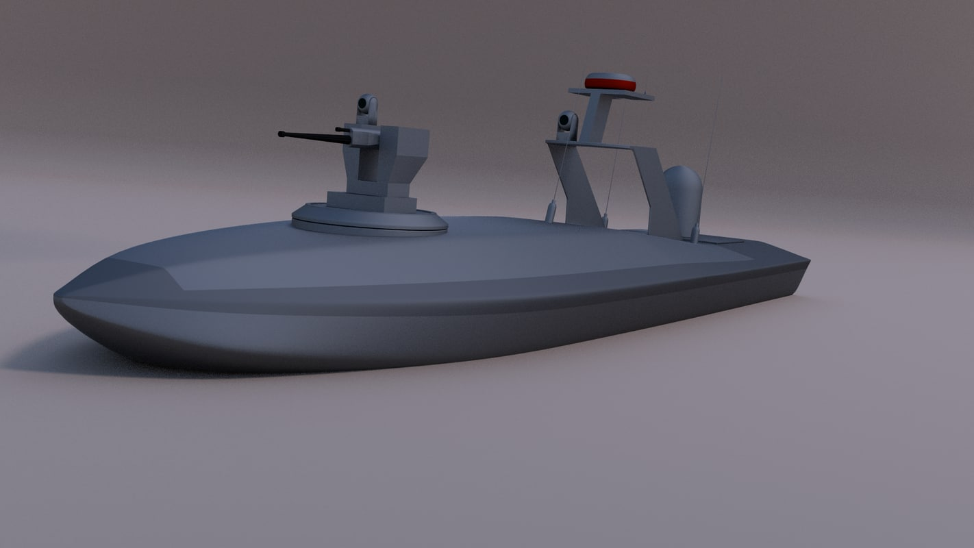 3d model unmanned security boat