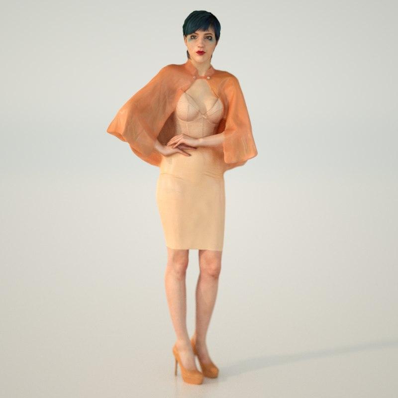 3d model latex cape girl