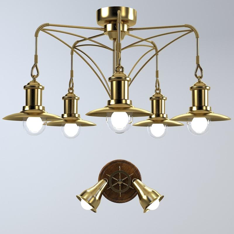 3d model ceiling chandelier lamp